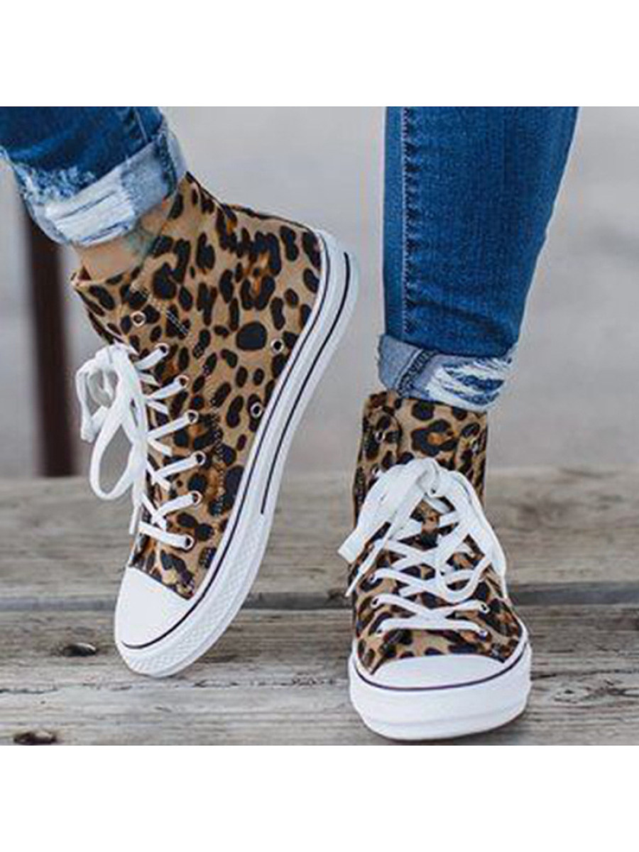 BerryLook Women's leopard high-top canvas sneakers
