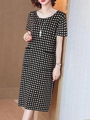 Berrylook Round Neck Plaid Loose Dress online shop, fashion store, tunic dress, floral shift dress