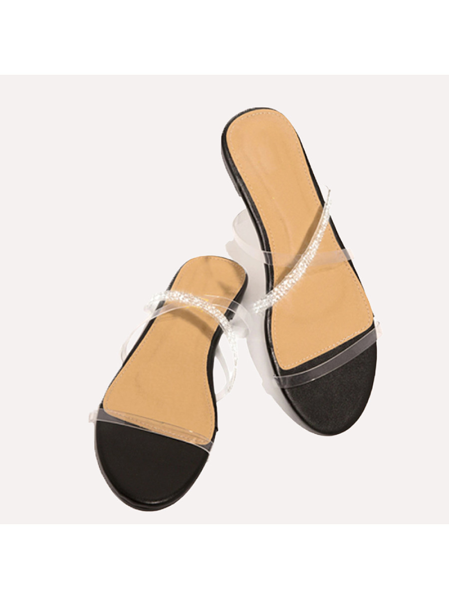 BerryLook Women's comfortable flat bottom rhinestone slippers