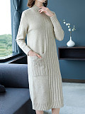 Image of High Neck Long Sleeve Knitted Solid Color Dress
