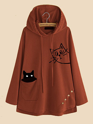 Women's Casual Cat Print Hoodie gender:female, season:autumn,winter,spring, collar:sweater with cap, texture:polyester, pattern_type:printing, sleeve_length:long sleeve, sleeve_type:regular sleeve, style:japan and south korea, collar_type:hat collar, dress_occasion:daily, bust:130,clothing length:74,shoulder width:47,