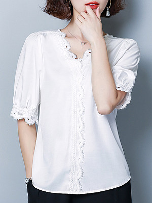 V Neck Elegant Plain Short Sleeve Blouse, 11225406