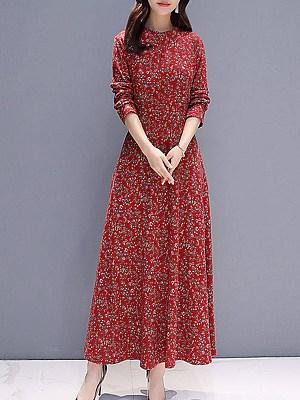 Women's Casual Floral Long Sleeve Dress фото