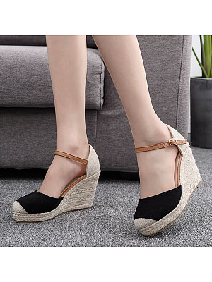Comfortable casual round toe wedge sandals