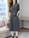 Image of Solid Color V-Neck Long Sleeve Two-Piece Dress