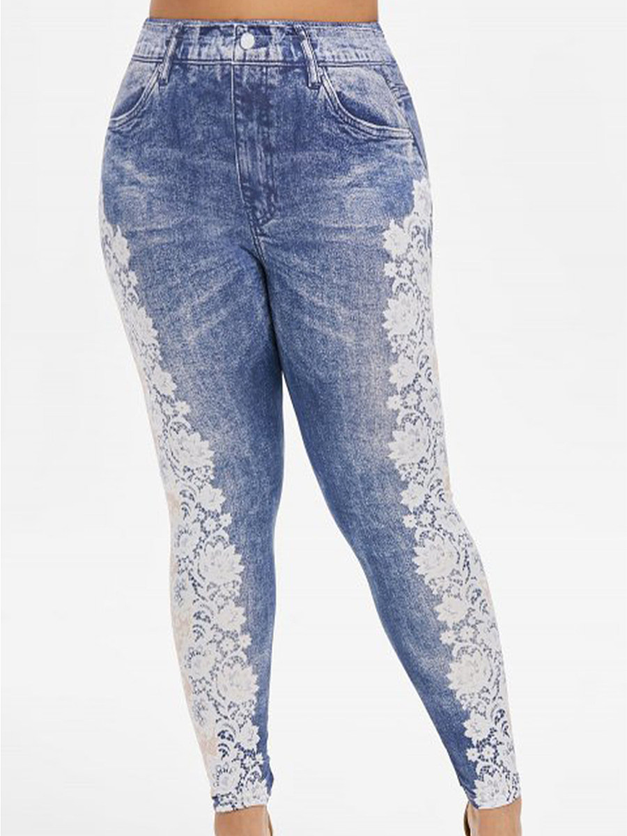 BerryLook Fashionable plus size lace printed high stretch sports leggings