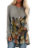 Image of Cat Print Loose Casual Long Sleeve Round Neck Ladies T-shirt