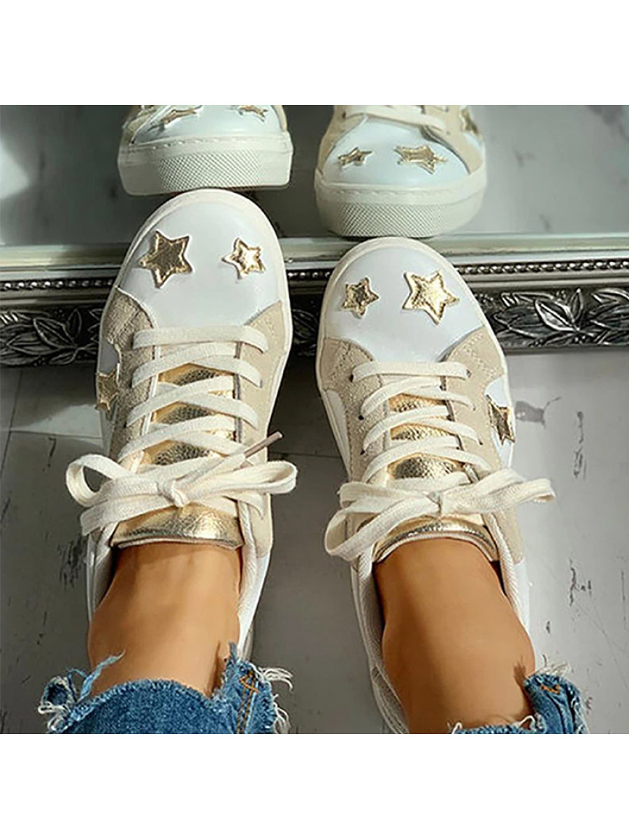 BerryLook Round toe low-top lace-up color-block flat star shoes