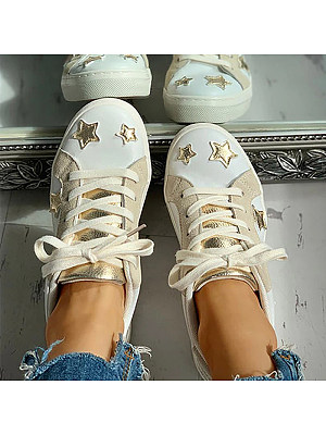 Round toe low-top lace-up color-block flat star shoes, 11332947