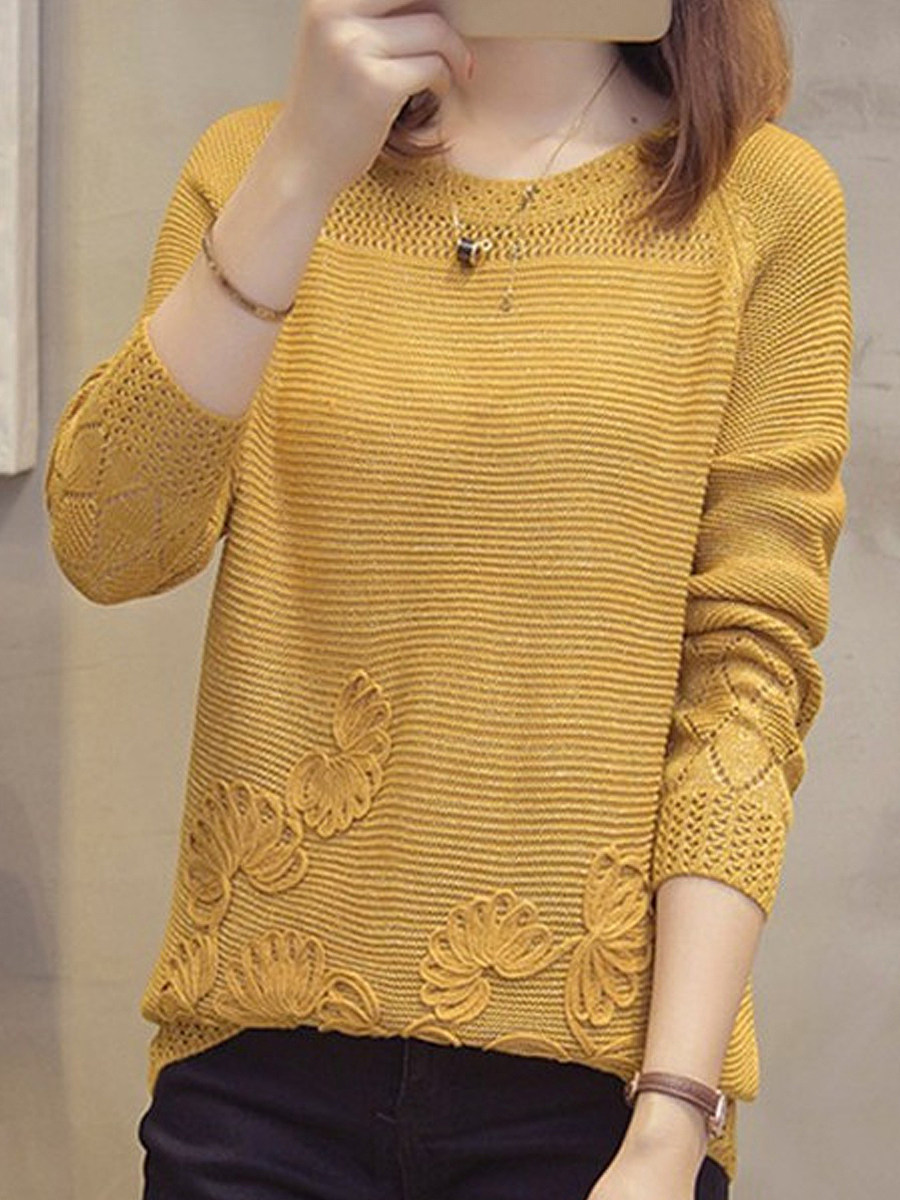 BerryLook Round Neck Patchwork Elegant Plain Long Sleeve Knit Pullover