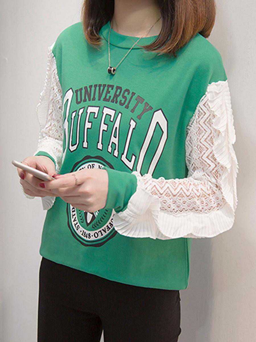 Fashion Stitching Lace Sweater