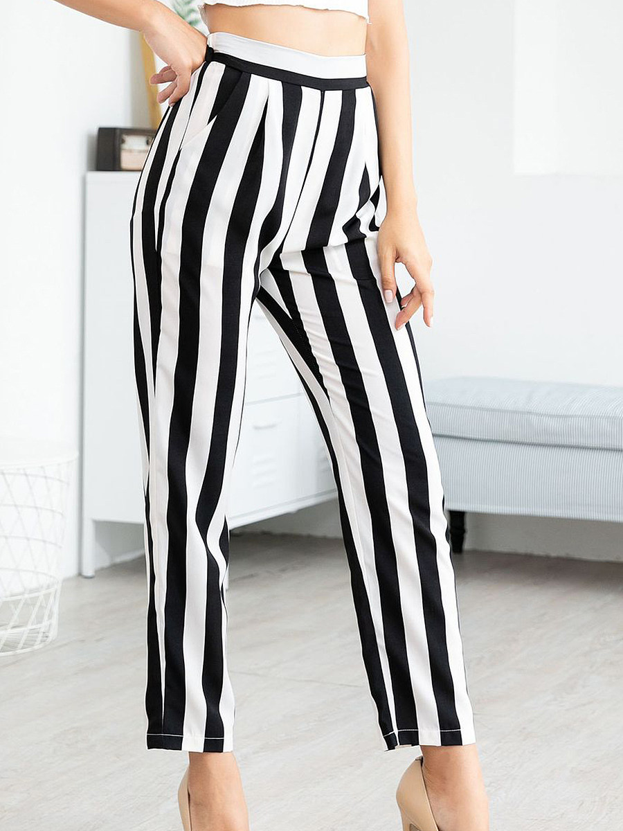 High-waist printed striped straight trousers wild trousers