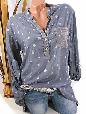 Star Print Sequin Pocket Can Pull Long Sleeve Blouse, 24537467