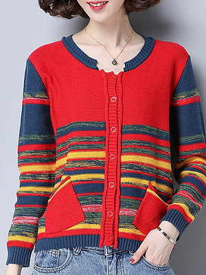 Patchwork Medium Elegant Color Block Long Sleeve Knit Cardigan, 10093707