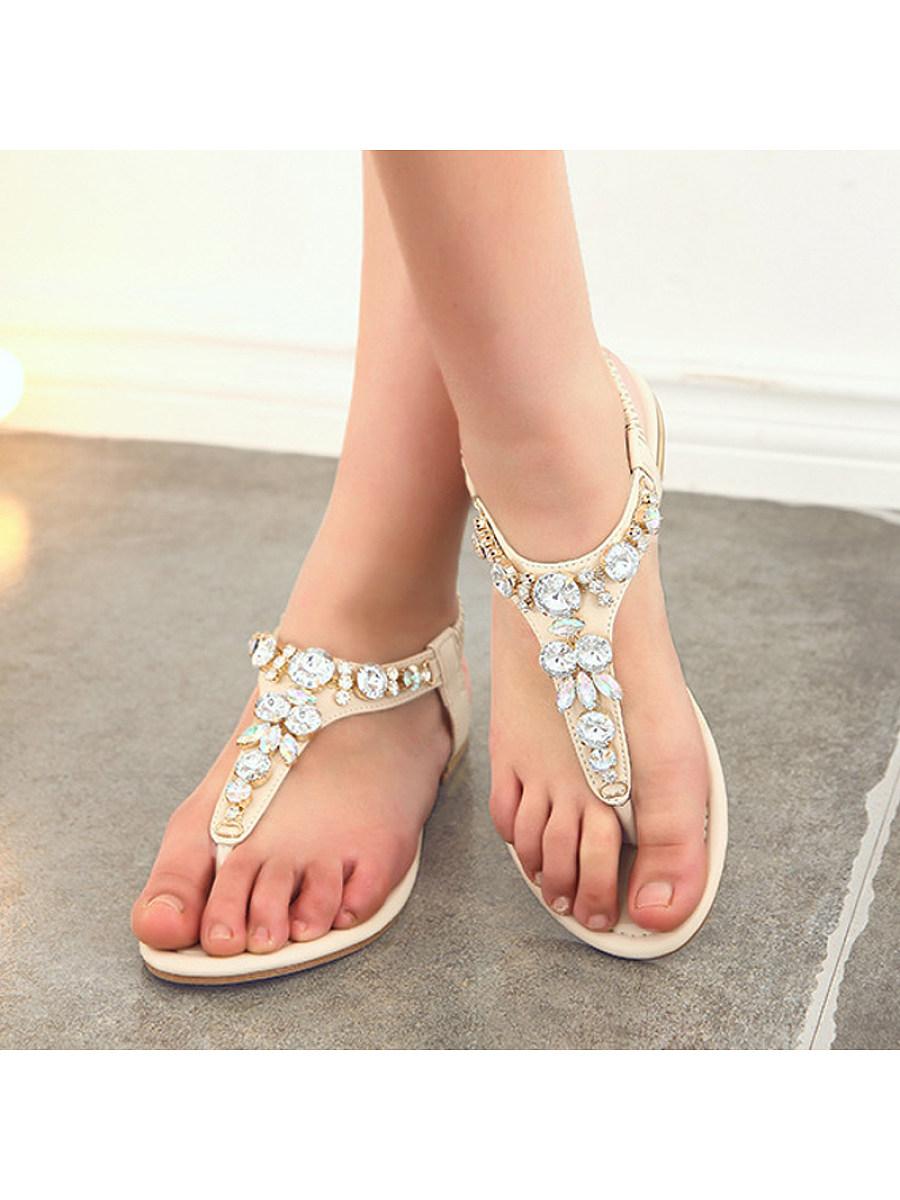 Women's flip-flop rhinestone beach shoes