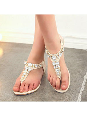 Women's flip-flop rhinestone beach shoes фото