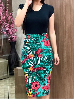 (65% OFF Deal) Round Neck Tropical Print Dress $11.95