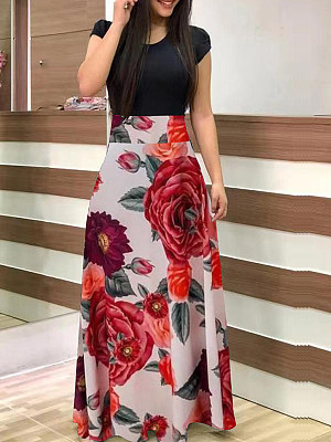 Berrylook Round Neck Patch Pocket Floral Printed Maxi Dress shop, clothing stores, halter dress, floral maxi dress