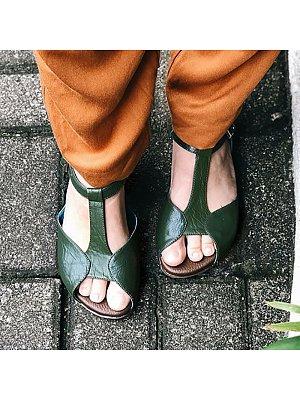 Retro Casual Flat Toe Sandals, 10868006