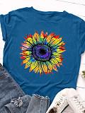 Round Neck Print Short Sleeve Cotton T-shirt