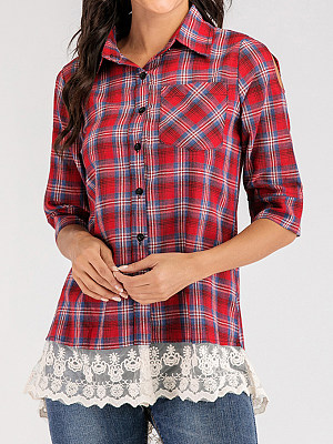 Turn Down Collar Plaid Patchwork Lace Half Sleeve Blouse