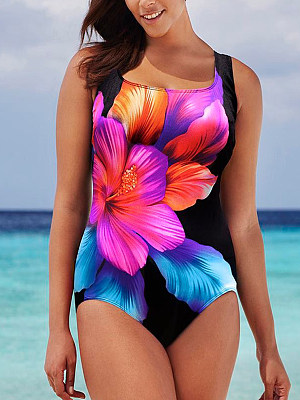 Plus size printed fashion one-piece swimsuit