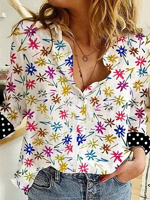 Turn Down Collar Print Long Sleeve Blouse, 25266825