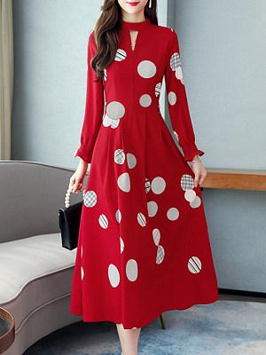 Round Neck Printed Maxi Dress, 11329798