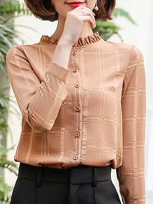 Band Collar Plaid Long Sleeve Blouse, 11404892