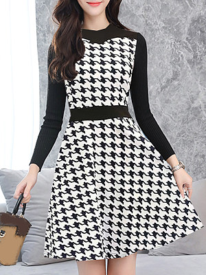 Fashion slim slimming houndstooth long sleeve plus size dress, 10707686