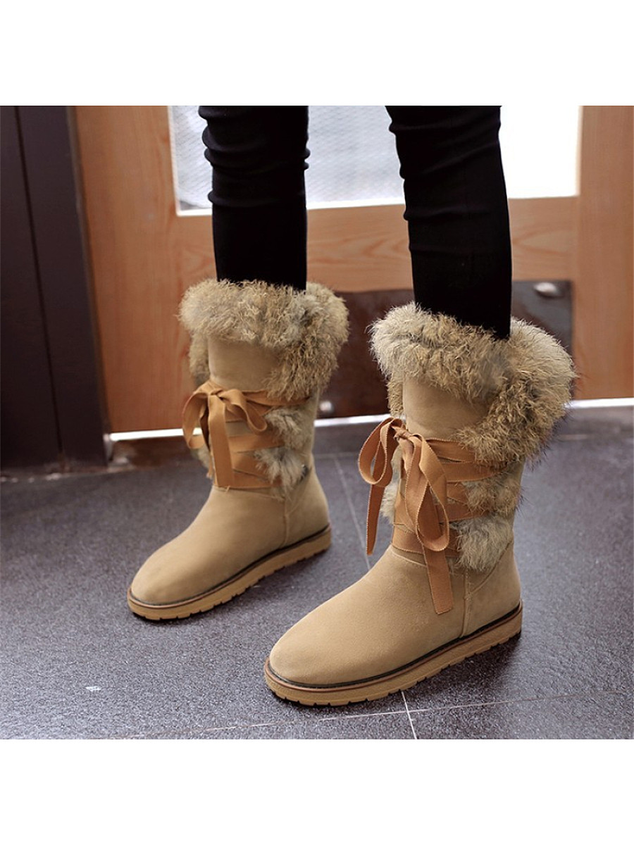 Fashion ladies lace-up platform pure color snow boots - from $37.95