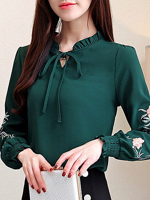 Band Collar Elegant Embroidered Long Sleeve Blouse, 10731120