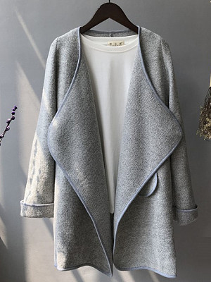 Women's Solid Color Irregular coat gender:female, colour:gray, season:autumn,winter,spring, texture:polyester, sleeve_length:long sleeve, style:japanese and korean style, dress_occasion:daily, clothing length:79,sleeve length:56,