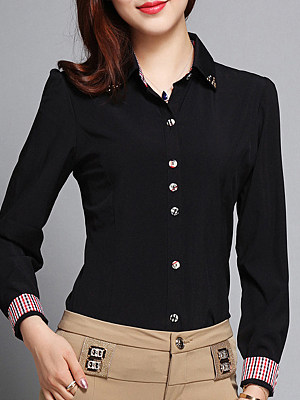 Turn Down Collar Patchwork Long Sleeve Blouse, 11213994