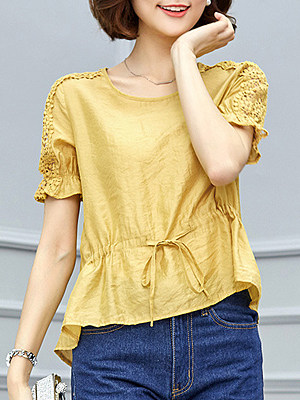 Round Neck Patchwork Lace Short Sleeve Blouse, 11280167