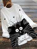 Image of Round Neck Cat Print Long Sleeve T-shirt