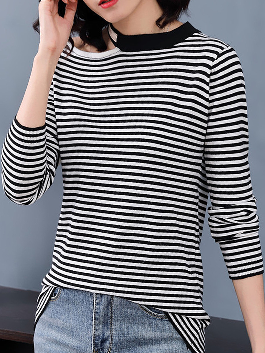 Round Neck Cutout Causal Long Sleeve Knit Pullover - from $20.95