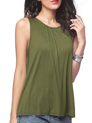 Round Neck Plain Sleeveless T-shirt фото