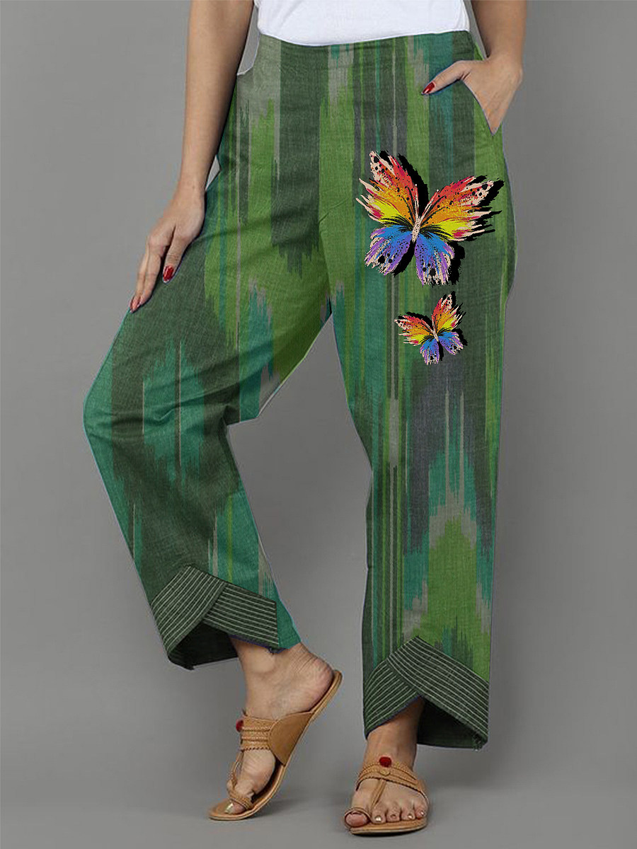 Butterfly printed green cotton and linen fashion casual pants