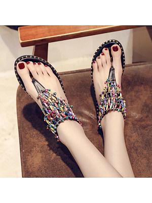 Sequined flat-rivet rhinestone elastic band sandals, 11265564