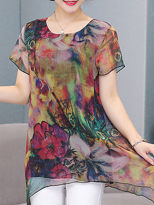 Round Neck Floral Short Sleeve Blouse, 11574445
