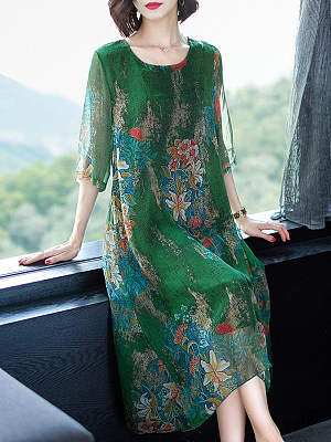 Round Neck Floral Printed Shift Dress фото