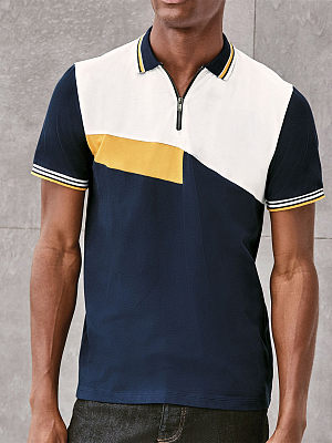 Contrasting color square polo shirt, 27457676, BERRYLOOK  - buy with discount