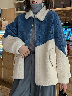 Women's Wild Colorblock Lamb Fur Coat gender:female, season:autumn,winter,spring, texture:artificial fur, sleeve_length:long sleeve, sleeve_type:regular sleeve, style:japanese and korean style, collar_type:fold collar, dress_occasion:daily, bust:120,clothing length:66,shoulder width:73,