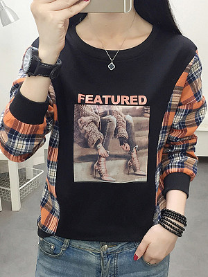 Fashion print colorblock sweater, 11185459