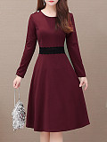 Womens Commuting Round Neck Long Sleeve Dress