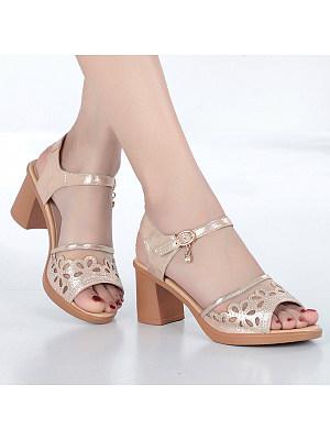 Block Heel Fashion Fishnet Sandals