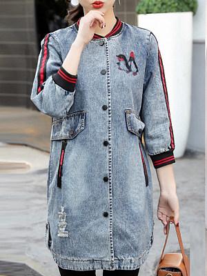Fashion embroidered denim jacket фото