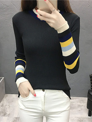 Round Neck Striped Long Sleeve Knit Pullover, 10580292