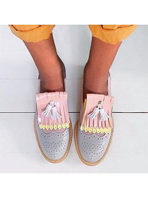Vintage Women Color Matching Tassel Flats, 10802065